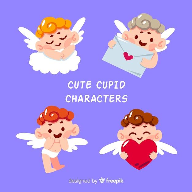 かわいい手描きのバレンタインデーの天使のコレクション 無料ベクター