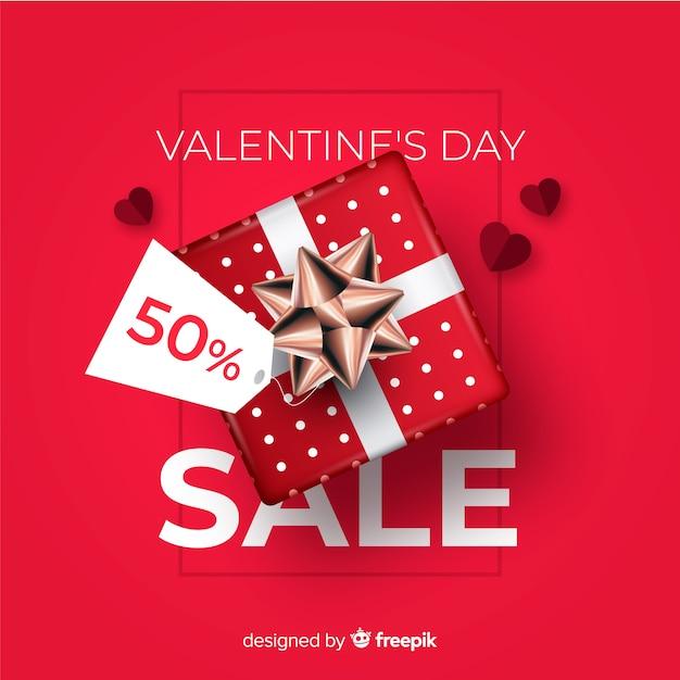 現実的な現在のバレンタインデールの販売の背景 無料ベクター