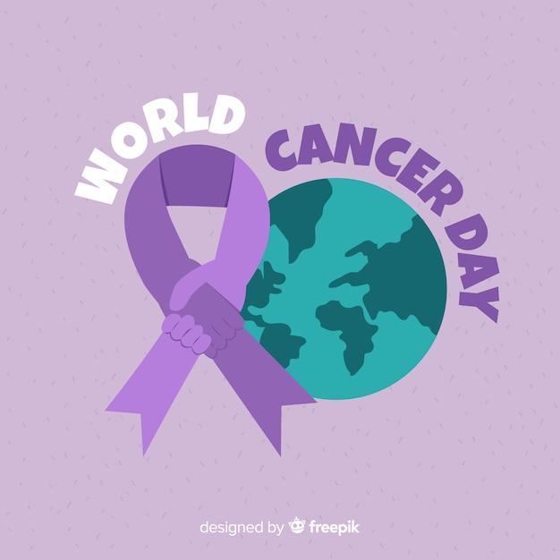 世界の癌の日の背景 無料ベクター