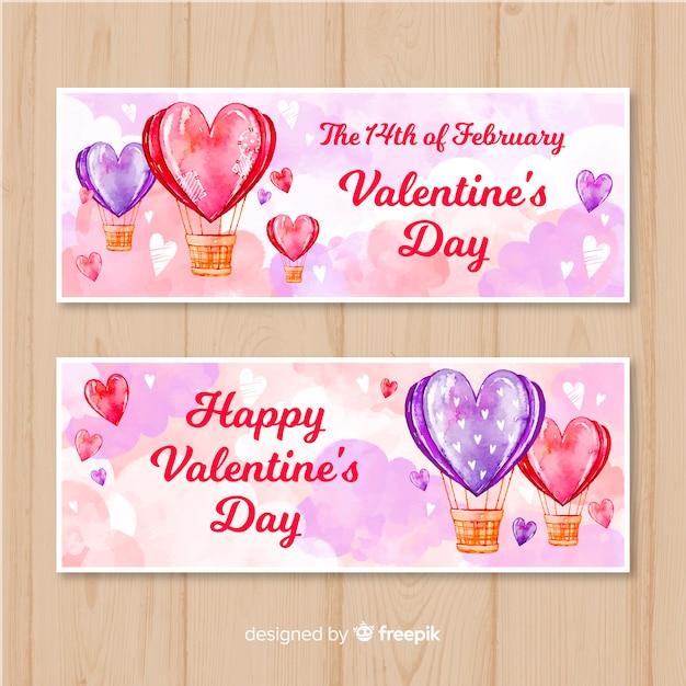水彩熱気球バルーンバレンタインバナーコレクション 無料ベクター