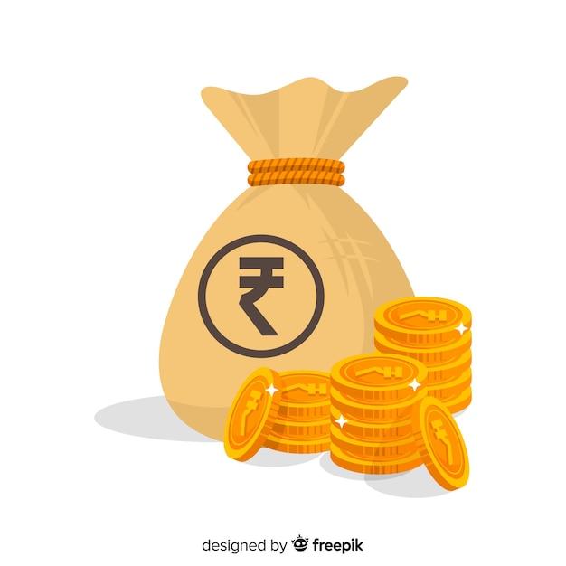 インドのルピーマネーバッグ 無料ベクター