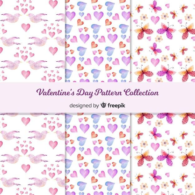 水彩バレンタインデーパターンコレクション 無料ベクター
