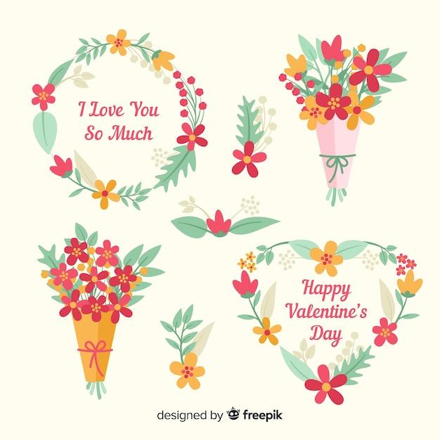 バレンタインの花輪と花束 無料ベクター