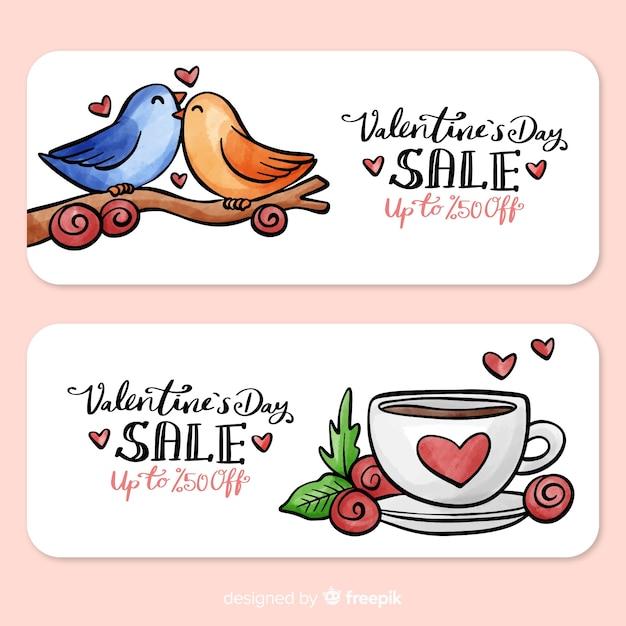 鳥とカップのバレンタインの販売バナー 無料ベクター
