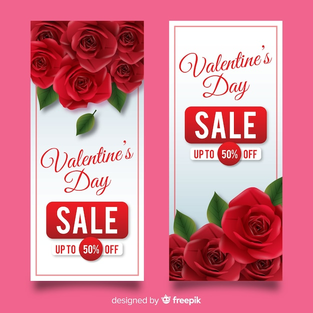 現実的なバレンタインデーの販売バナー 無料ベクター