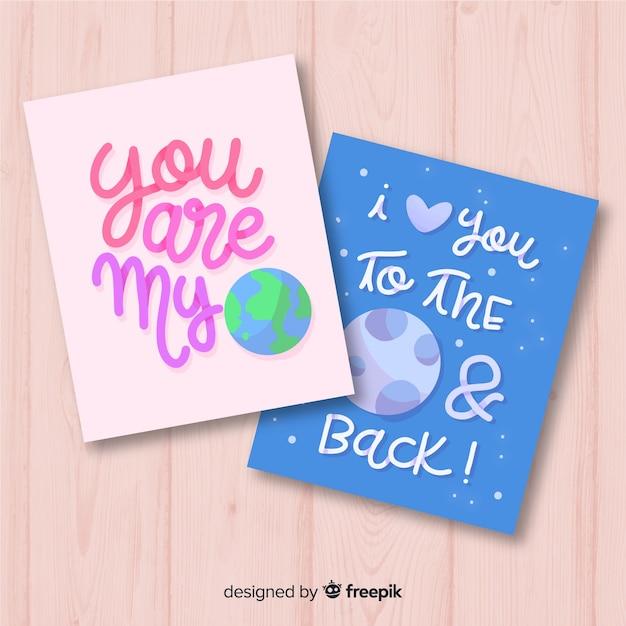 手描きの惑星バレンタインカード 無料ベクター