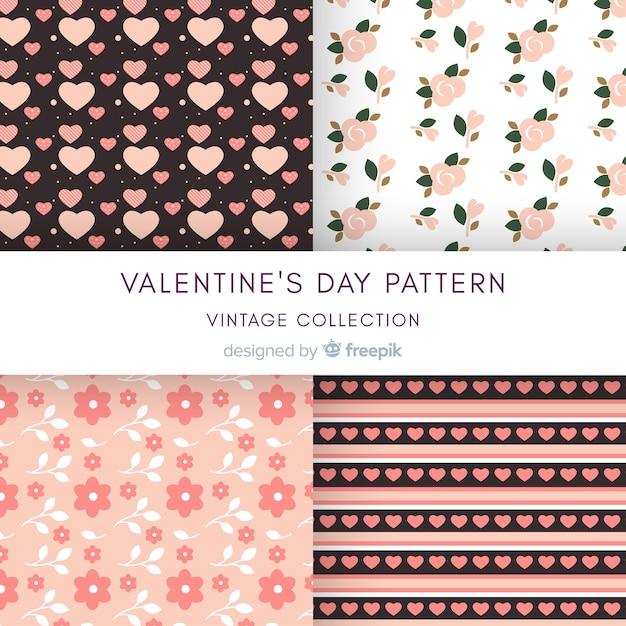 フラットハートと花バレンタインパターンコレクション 無料ベクター