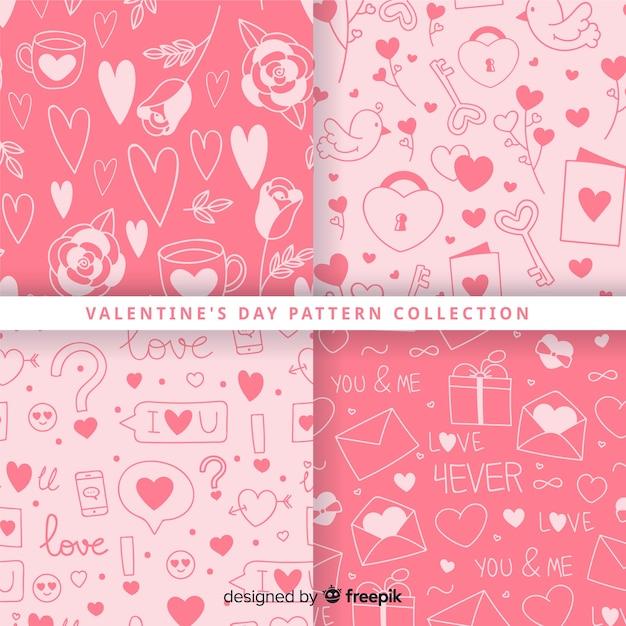 Коллекция шаблонов для дня святого валентина Бесплатные векторы
