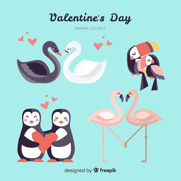 Симпатичная коллекция животных пара дня святого валентина Бесплатные векторы