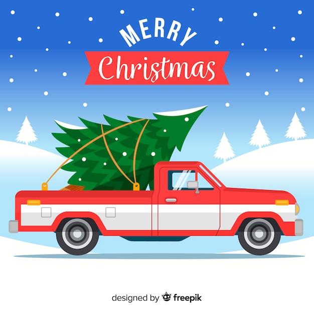 クリスマスツリーのピックアップトラック 無料ベクター