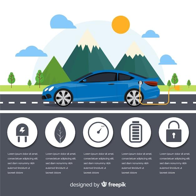 Электрический автомобиль инфографики Бесплатные векторы