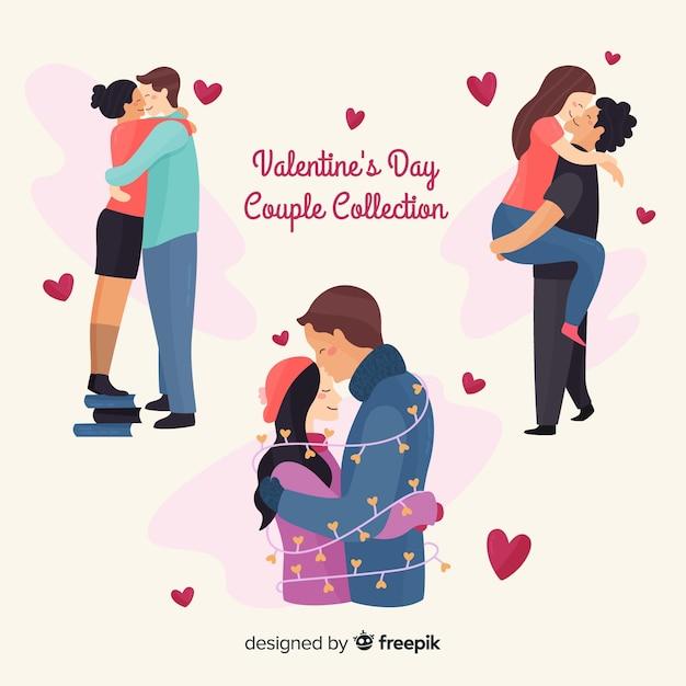 バレンタイン抱擁カップルコレクション 無料ベクター