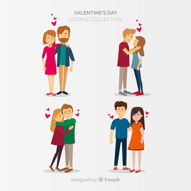 バレンタインカップルコレクション 無料ベクター