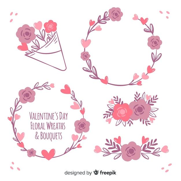 バレンタインの花輪&花束 無料ベクター