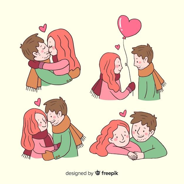 バレンタイン漫画カップルコレクション 無料ベクター
