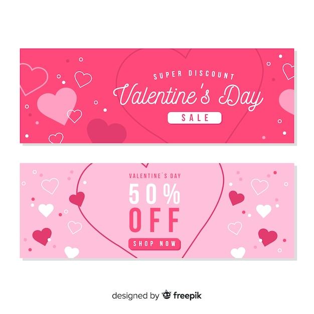 Плоские баннеры продажи дня святого валентина Бесплатные векторы