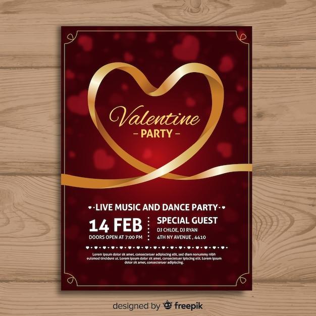 ゴールデンリボンバレンタインパーティーポスター 無料ベクター