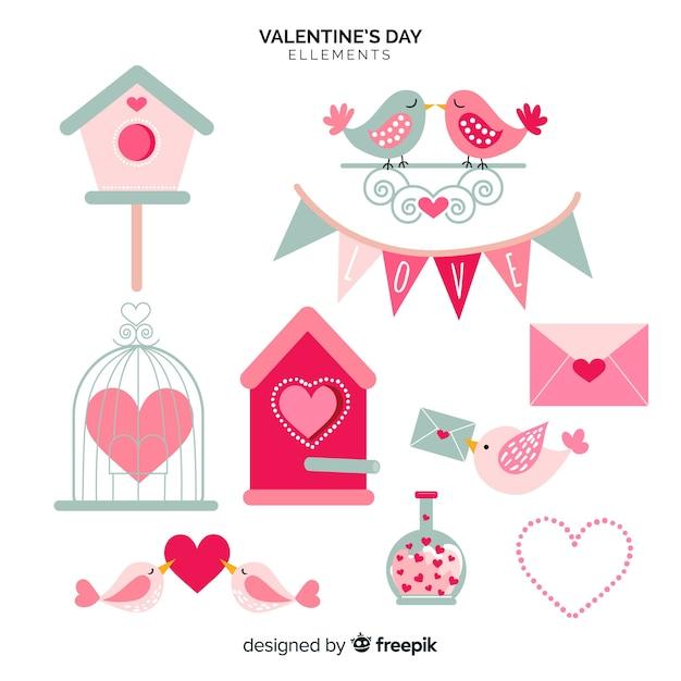 フラットバレンタイン要素コレクション 無料ベクター