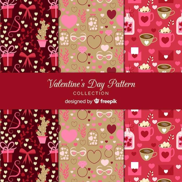 バレンタインパターンコレクション 無料ベクター