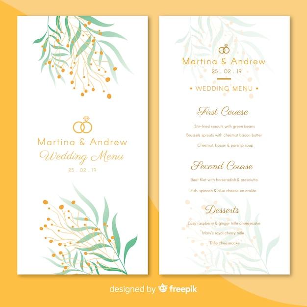 結婚式のメニューテンプレート 無料ベクター