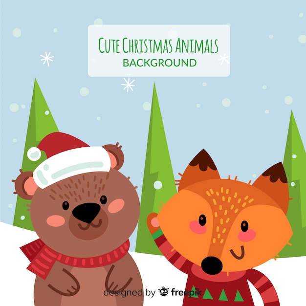 クリスマスの動物の背景 無料ベクター