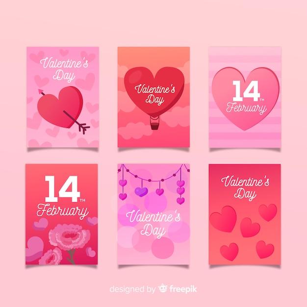 暖かいバレンタインカードコレクション 無料ベクター