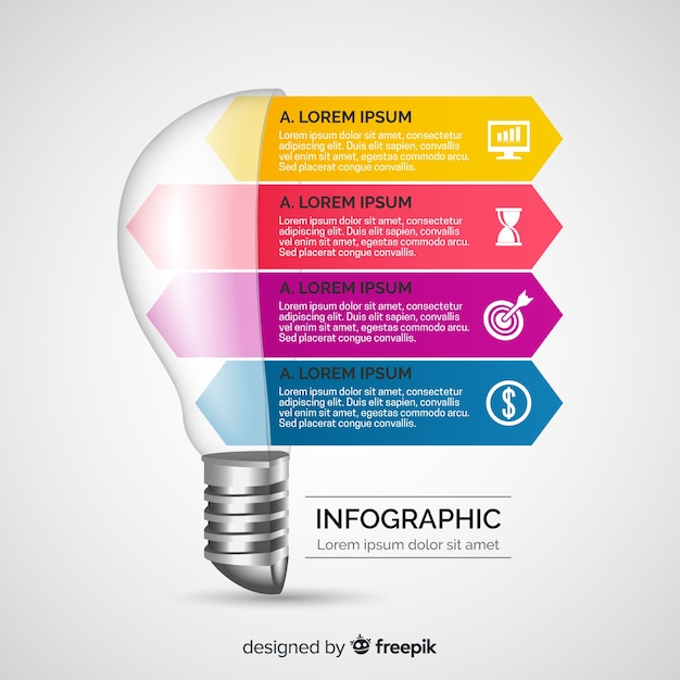 インフォグラフィックのリアルな電球 無料ベクター