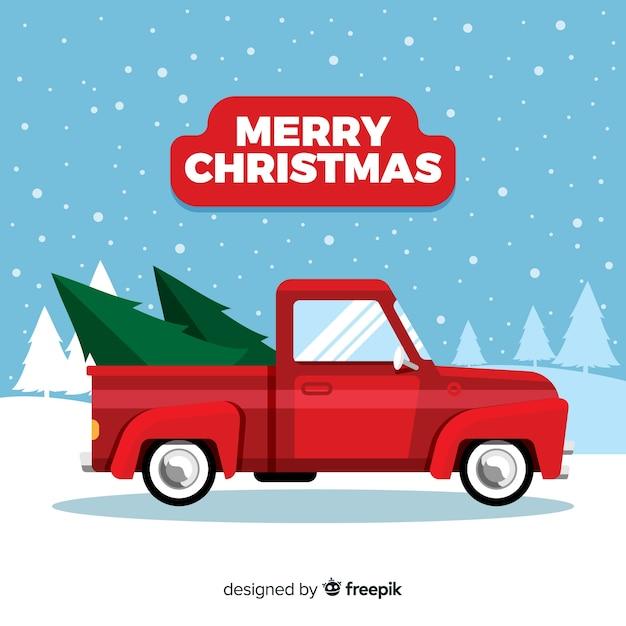 Рождественская елка на пикапе Бесплатные векторы