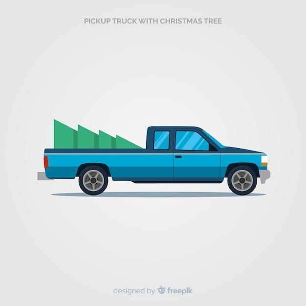 クリスマスツリーでトラックを拾う 無料ベクター