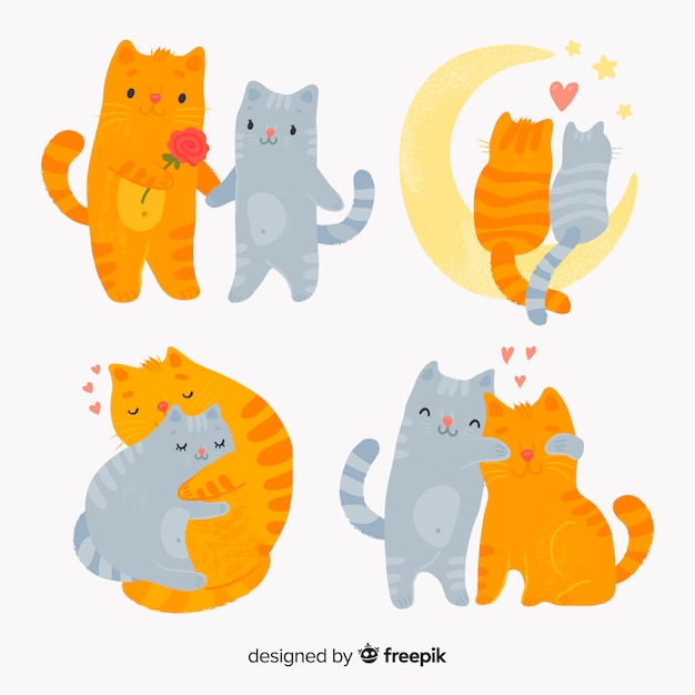 バレンタインの猫のカップルパック 無料ベクター