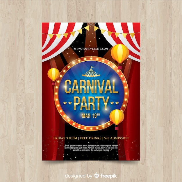 Шаблон флаера для карнавальной вечеринки Бесплатные векторы