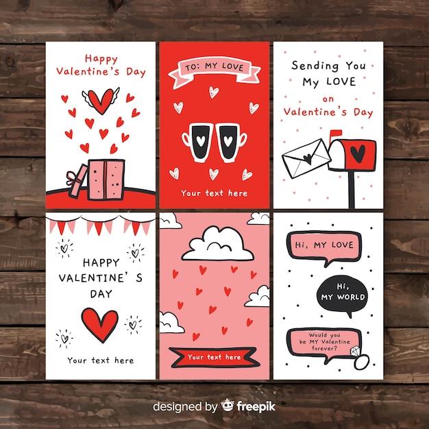 手描きのバレンタインカードコレクション 無料ベクター