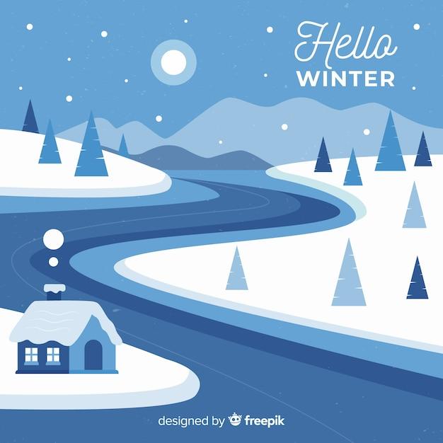 冬の風景 無料ベクター