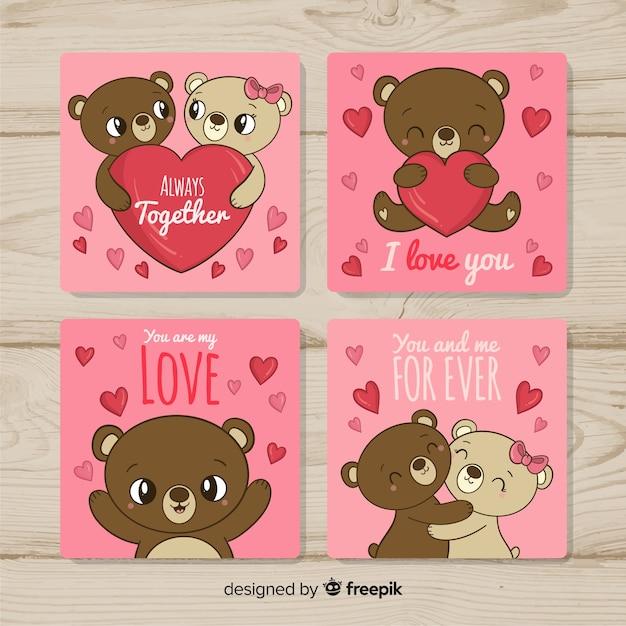 テディベアカップルバレンタインカードコレクション 無料ベクター