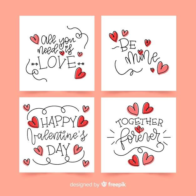書道のバレンタインカードコレクション 無料ベクター