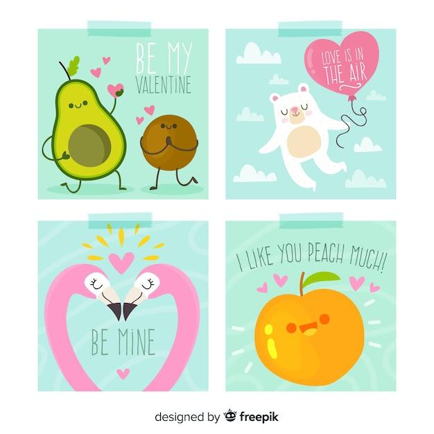 手描きの果物や動物のバレンタインカードコレクション 無料ベクター