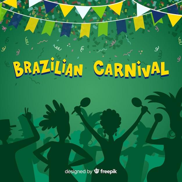 手描きのブラジルのカーニバルの背景 無料ベクター