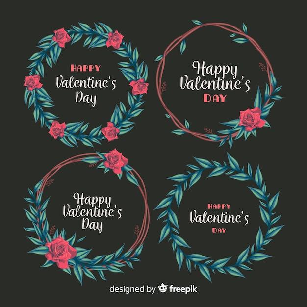 バレンタインの花の花輪 無料ベクター