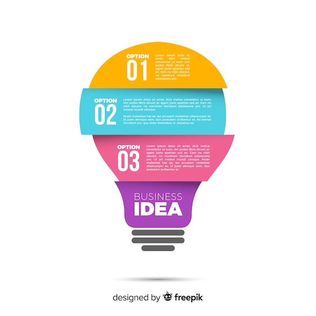 電球のインフォグラフィック 無料ベクター