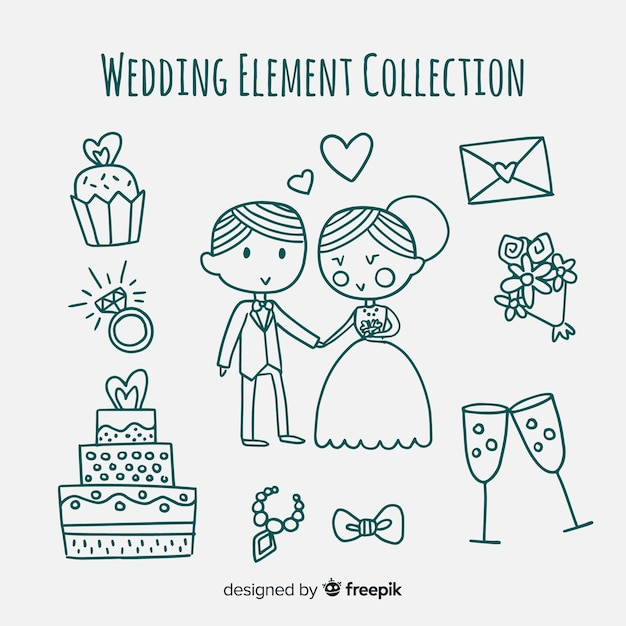 Коллекция свадебных элементов Бесплатные векторы