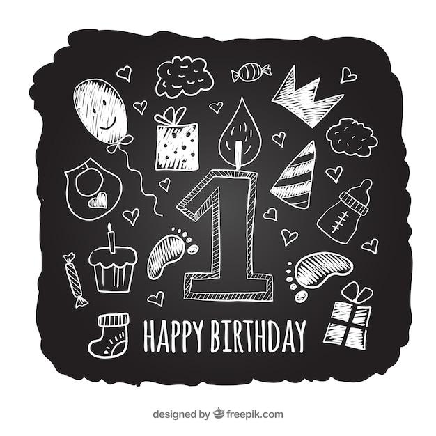 Классная доска на день рождения Бесплатные векторы