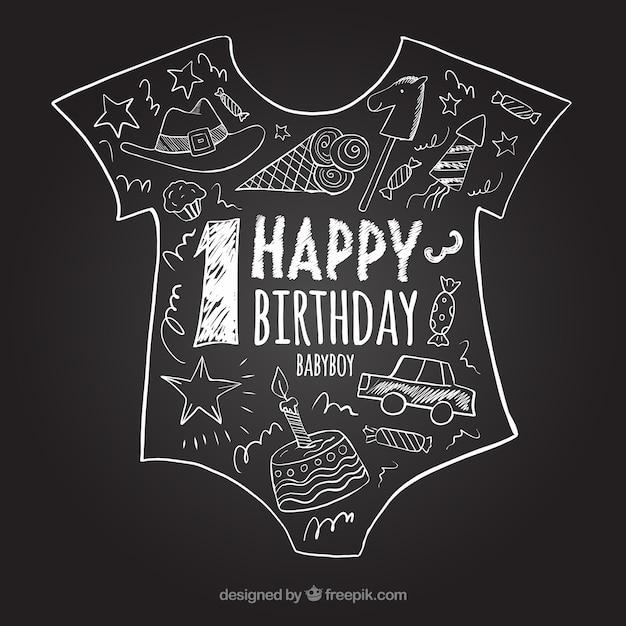 最初の誕生日黒板 無料ベクター