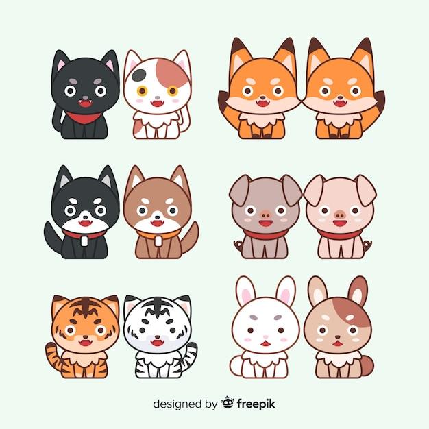 Валентина пара животных пакет Бесплатные векторы