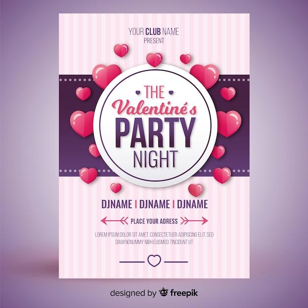 フローティングハートバレンタインパーティーのポスター 無料ベクター