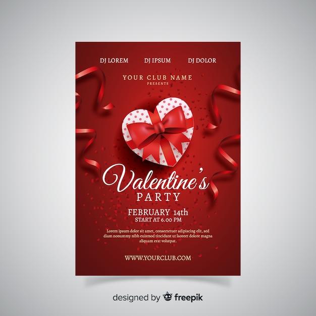 リアルなギフトバレンタインパーティーのポスター 無料ベクター