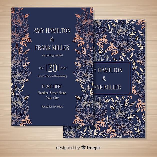 手描きの花のウェディングカードテンプレート 無料ベクター