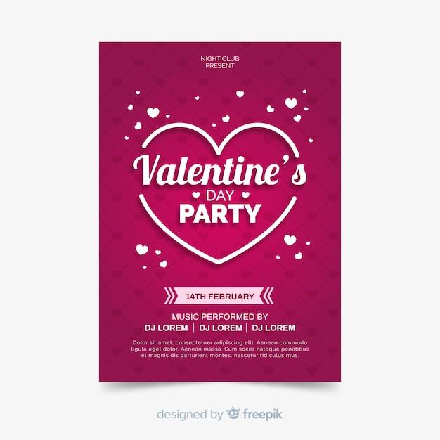平らなバレンタインパーティーのポスター 無料ベクター