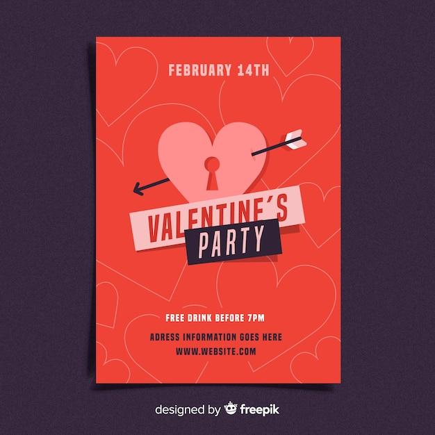 フラットロックバレンタインパーティーのポスター 無料ベクター