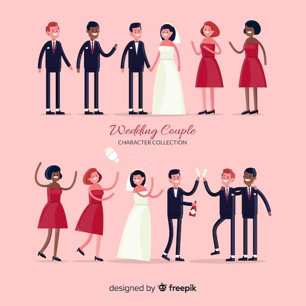 結婚式のカップルのキャラクターコレクション 無料ベクター