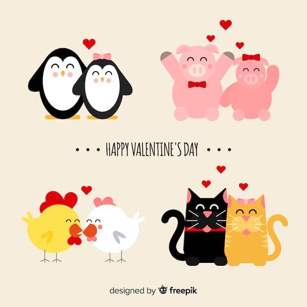 バレンタインの笑顔の動物カップルコレクション 無料ベクター